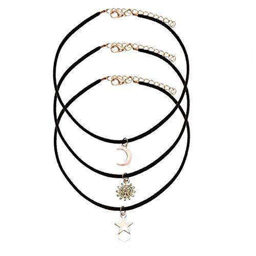 Guangcailun 3pcs de Las Mujeres/Set Negro Cuerda de Terciopelo Estrella de la Luna de Sun Collares del ahogador Collar con Colgante de la Estrella de la Luna de Sun