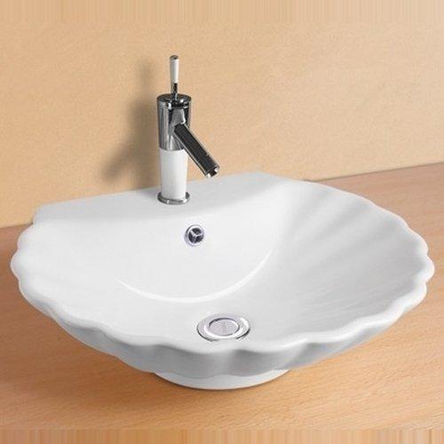 NEG Waschbecken Uno38A (Muschel-Form/oval) Aufsatz-Waschschale/Waschtisch (weiß) mit geschwungenem Rand und Nano-Beschichtung