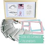 Mammacita Gipsabdruck für Baby Hand und Fuß - Baby Abdruck-Set mit Gips - Bilderrahmen für Handabdruck und Fußabdruck für Babys - Geschenk zur Babyparty (Baby Artikel)