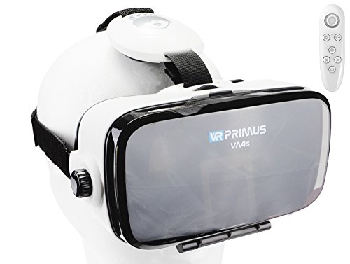 VR-PRIMUS® VA4s VR Brille, kompatibel mit iPhone X XS und Android Handys bis 6.2 Zoll z.B. Samsung S7 S8,Huawei P10 P20, lG G4,Xiaomi. Mit Google Cardboard Apps.|+ Fernbedienung für Android Handy \'s