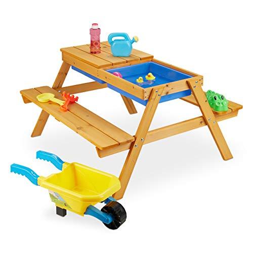 Relaxdays Kindersitzgruppe sillas Infantiles de Madera, 2 en 1, Juegos y Cocina de Barro, Mesa de Picnic para jardín, 49 x 90 x 85 cm, Color Natural, Naturaleza
