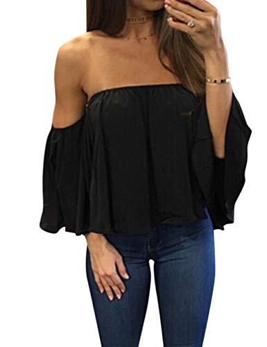 Zehui Camisa de Las Mujeres de Moda, Camisa sin Mangas del Tubo del Hombro de la Moda, Blusa Respirable…