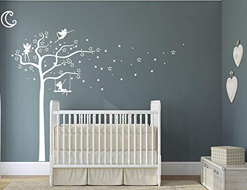 Design Divil Sticker motif fée, étoiles, arbre et lune –