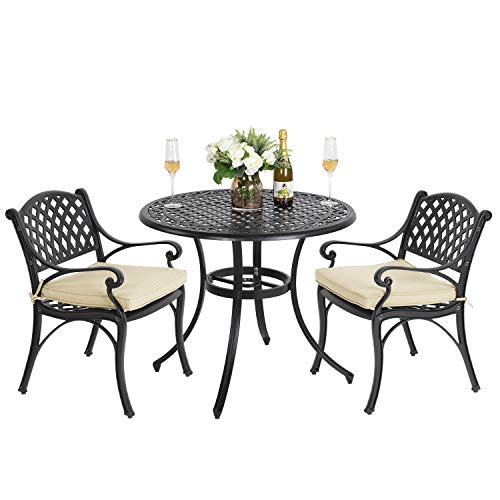 Nuu Garden 3 Piece Bistro Set with Cushions - Outdoor Cast Aluminum Garden Patio Furniture Conversation Set of 3 for Balcony,Black