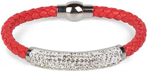 styleBREAKER geflochtenes Armband mit Strasssteinen und Magnetverschluss, Flechtarmband, Damen 05040047, Farbe:Rot