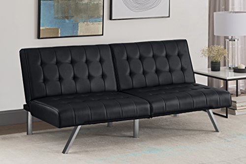 DHP Sofa Bed, leather, Black, (H) 82 x (W) 180 x (D) 87 cm