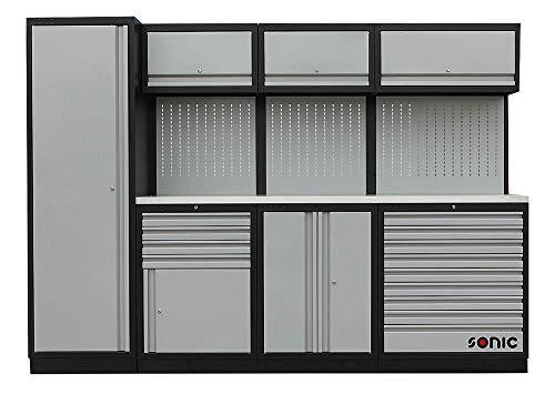 Sonic MSS Werkstattwand mit Edelstahl-Arbeitsplatte - Schrankwand mit kugelgelagerten Schubladen, Schrankfächern & Lochwand, einzeln verschließbar, hohe Belastbarkeit, Werkzeugschrank, grau