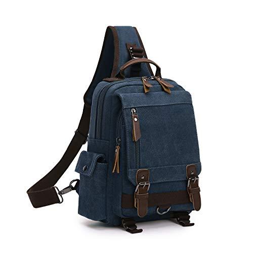 Wind Took Schultertasche Canvas Brusttasche Sling Rucksack Crossover Bag Vintage Umhängetasche Outdoor Daypack für Herren Damen, Dunkelblau