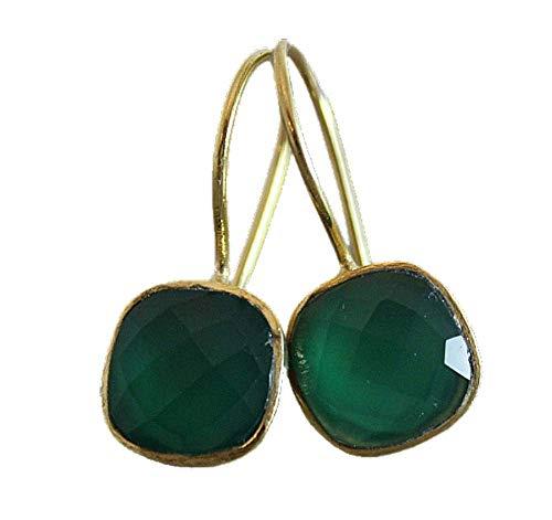 Cushion Cut Green Onyx Gold Plated Sterling Silver Drop Earrings - Gemstone Jewelry Gift Ideas for Women