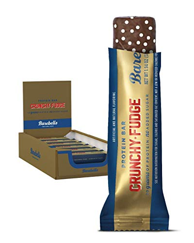 Barebells Crunchy Fudge High Protein and Low Carb Bar, 12 x 55g (1,94 oz) Low Sugar Snack Protein Bar with 20g protein