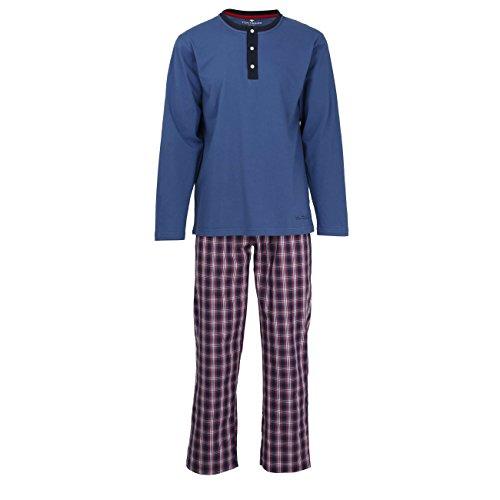 TOM TAILOR Herren Pyjama, Schlafanzug, Shirt und Hose, Langarm, Baumwolle, Single Jersey, blau, kariert 48