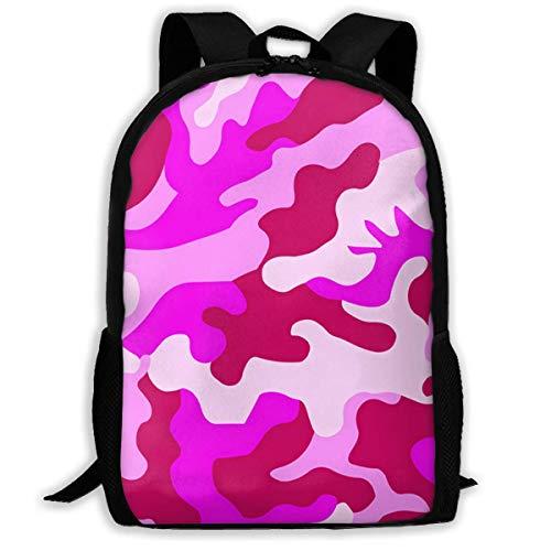 TTmom Schulrucksack,Schüler Bag,Rucksack Damen Herren Backpack Pink Camo Zipper School Bookbag Daypack Travel Rucksack Gym Bag for Man Women