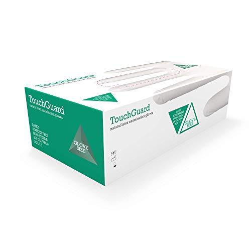 TouchGuard - Guantes de látex natural desechables sin polvos, caja de 100 unidades, medianos