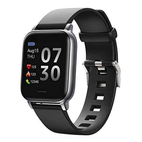 Smartwatch para Mujer, Hombr, Reloj Inteligente Deportivo Impermeable IP68 para Android iOS, Monitor de Sueño, Seguimiento del Menstrual, Control de Musica,Black