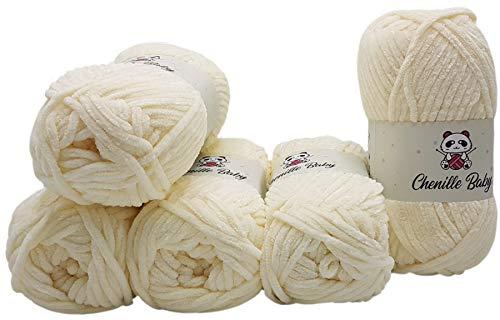 Ilkadim 5 x 100 Gramm Chenille Baby Strickwolle, Babywolle, 500 Gramm Wolle Super Bulky (Creme 100-02)