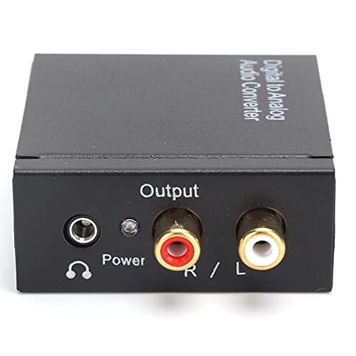 Adaptador de Audio de 3,5 mm, convertidor de Audio Digital, convertidor RCA óptico Digital coaxial a analógico con 1 convertidor 1 Cable USB 1 Cable de Fibra óptica 1 Cable de Audio(Convertidor)