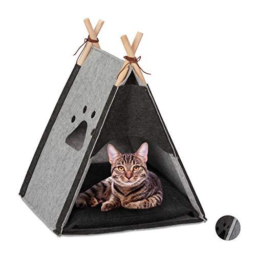 Relaxdays Katzenzelt, Haustiertipi für Katzen & kleine Hunde, aus Filz & Holz, mit Kissen, HBT 57 x 46 x 45 cm, hellgrau, 1 Stück