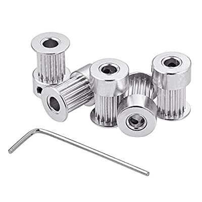 INCREWAY 5pcs Aluminum GT2 Timing Belt Pulley 16 Teeth Bore 5mm Width 6mm and Wrench, for RepRap 3D Printer Prusa i3