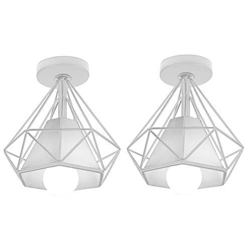 2 Pcs Lámpara de Techo Industrial Vintage ⌀200mm Simple Plafón Diamante luz de Techo Colgante LED Moderno Interior Iluminación Dormitorio Baño Pasillo Loft Entrada, Blanco (B)