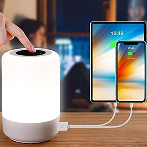 YSD Touch Night Light, Bedside Lamp with 4 Quickly Charge USB Ports, 13 Color RGB and Brightness Adjustable , Best Gift for Bedroom,Party,Children,Christmas(White)