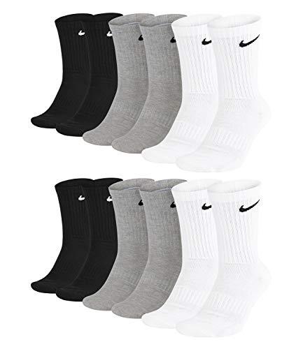 Nike Everyday Cushioned Crew Socks SX7664 - Calcetines de entrenamiento unisex (6 pares) -901 gris/blanco/negro. 46-50