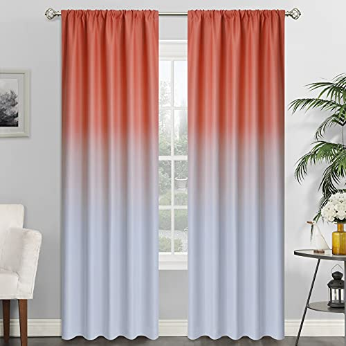 SimpleHome Ombre Room Darkening Curtains for Living Room, Rod Pocket Light Blocking Gradient Coral and Greyish White Thermal Insulated Window Curtains Drapes for Bedroom, 2 Panels, 52x96 inches Length
