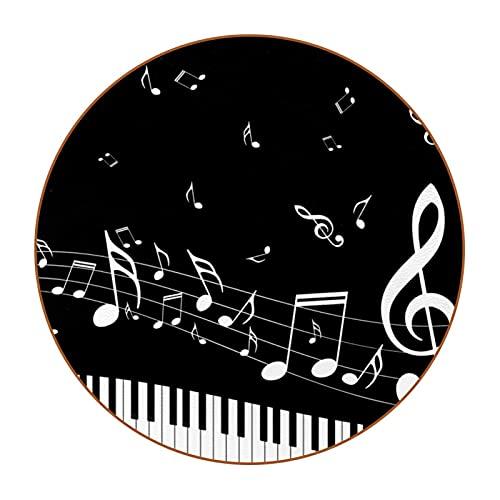 Llave de piano, juego de 6 esteras redondas DIY Super fibra de cuero posavasos para muebles y mesa protección y decoración