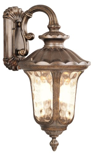 Livex Lighting 7663-50 Outdoor Wall Lantern with Hand Blown Light Amber Water Glass Shades, Moroccan Gold