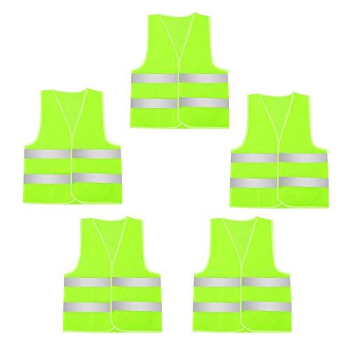 AIEOE Warnweste Set 5 Stück Sicherheitweste für Handwerker, Bauarbeiter, Jäger, Reiter, Ausbilder - Neon Gelb