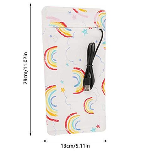 USB Babyflaschenwärmer Tragbare Cartoon Milchflasche Reise Heizungs Abdeckung Isolierungs Thermostat für Zuhause(Rainbow-Pattern)