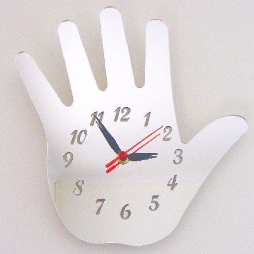 Super Cool Creations 30 X 20 cm Acrylique Main Miroir Horloge, Argent