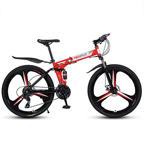 LAX Bicicleta Plegable Montaña 26 Pulgadas, 21 Velocidad Engranajes De Bicicletas De...