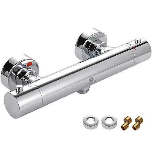 Duschthermostat, Thermostat Duscharmatur mit 38℃ sichere Stopptaste, Intelligente Konstante Temperatur, Schnelle Reaktion, Mischbatterie aus 59-1 Messing, Durchflusseinstellung (PITF01)