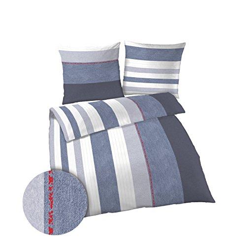 Unbekannt Biber ido Marken Bettwäsche 135x200 cm | 100% Baumwolle | 135x200 cm + Kissenbezug 80x80 cm Streifen Jeans Blau