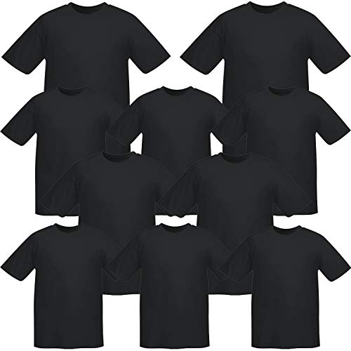 MISEMIYA - Pack*10 Pcs - Camiseta Uniforme Laboral Industrial Taller MECÁNICO TÉCNICO Fontanero ALBAÑIL- Ref.001 - XXL, Negro