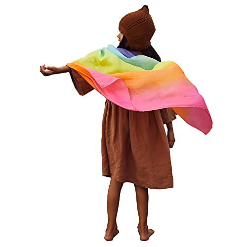 Sarah's Silks Enchanted Playsilk, 100% Silk Toy for Toddlers, Bright Colored, 35' Large Square Scarves Perfect for Imaginative and Pretend Play - Rainbow