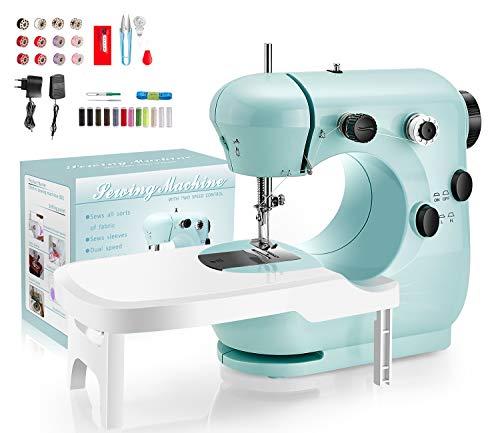 Máquina de coser con pedal, control de doble velocidad, lámpara nocturna, mesa extensible con cortador y aguja