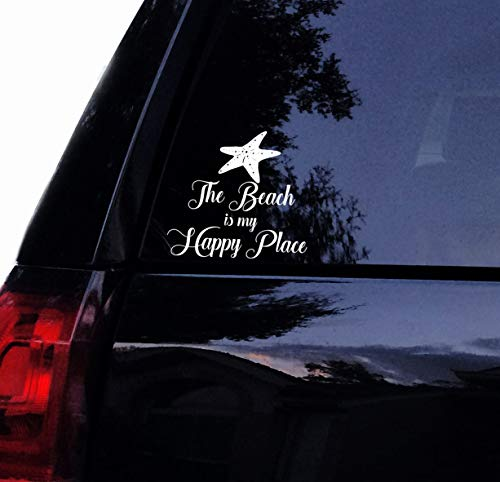The Beach is My Happy Place Starfish Vinyl Decal Laptop Car Window Wall Decor Sticker (6', White)