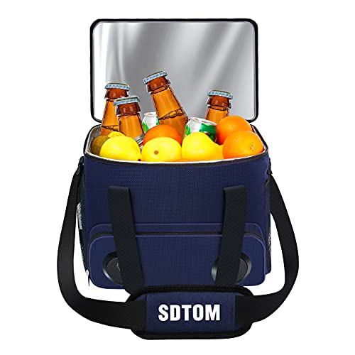 Cooler Bag with Bluetooth Speaker Insulated Soft-Sided Coolers 24L ( 40-Can )- Leakproof Cooler Tote Bag for Beach Camping Picnic BBQ Party Travel Cool Ice Beer Pack- USB Rechargeable