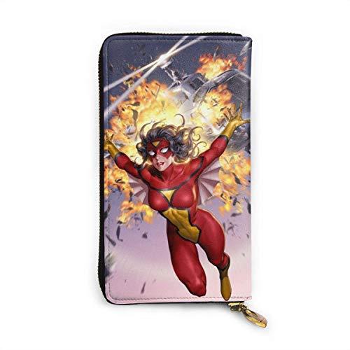 XCNGG SpiderWoman Brieftasche RFID Blocking Echtes Leder Zip-Around Brieftaschen Geldbörse Reisetasche um Kartenhalter Organizer Clutch Bag