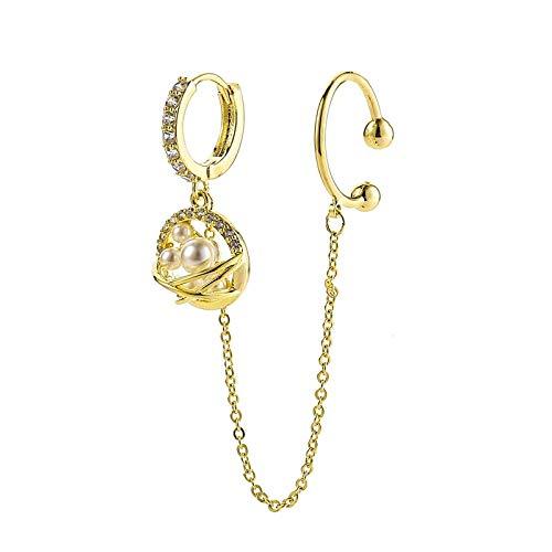 Earrings Fashion Cubic Zirconia Pearl Ear Cuff Earrings Gold And Silver Color Saturn Hoop Earrings For Women Girls Jewelry 2020