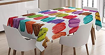 Ambesonne Colorful Tablecloth French Macarons in a Row Coffee Shop Cookies Flavours Pastry Bakery Food Design Dining Room Kitchen Rectangular Table Cover 52  X 70  Pink Purple
