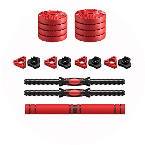 Mancuernas de aire libre con encapsulación ambiental para hombre Fitness Home Fitness equipo ajustable conjunto de pesas equipo de combinación de dos pares (color: rojo, tamaño: 20 kg)