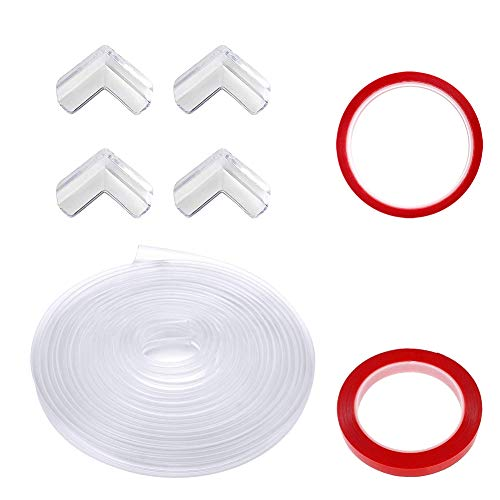 Protector Borde, Luckits Paquete de 4 Protector para Esquinas Transparente Espuma Forma para Borde & PC 1 Silicona Tiras de Parachoques de Borde 10 Pies para Muebles Vidrio Escritorio Mesa Gabinetes