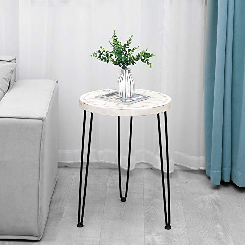 WELLAND Round Side Table, Small End Table with Metal Leg, Rustic Accent Edge Table with Special Pattern Design, for Bedroom, Living Room, Office, Round17.7 x 25 Inches, Washed White