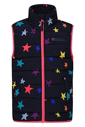 Mountain Warehouse Chaleco Acolchado Rocko para niños - Impermeable - Chaleco Acolchado de Microfibra - 2 Bolsillos Delanteros - Cuerpo cálido para niños y niñas Azul Marino 7-8 Años