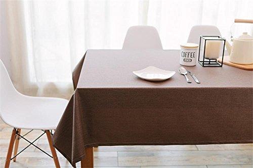Ommda Nappe Lin Anti-tâche Imperméable Nappe de Table a Manger 110x110cm café