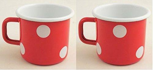 Münder Email 2er Set Emaille-Tassen (Rot, Tupfen weiß)