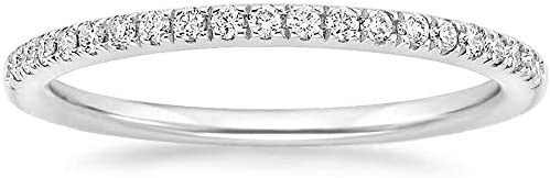 EAMTI 2mm 14K White Gold Plated Wedding Band Cubic Zirconia Half Eternity Stackable Engagement product image