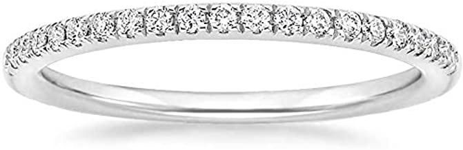 EAMTI 2mm 14K White Gold Plated Silver Wedding Band Cubic Zirconia Half Eternity Stackable Engagement Ring Size 8